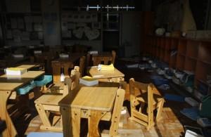 Una escuela abandonada hace 4 años en la zona de exclusión  en Okuma, donde ninguno de sus habitantes puede volver a sus casas. El gobierno reconoce casi 70 mil desplazados. Ecologistas hablan de 120 mil.